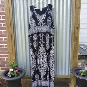 bila Maxi dress black white paisley floral XXL